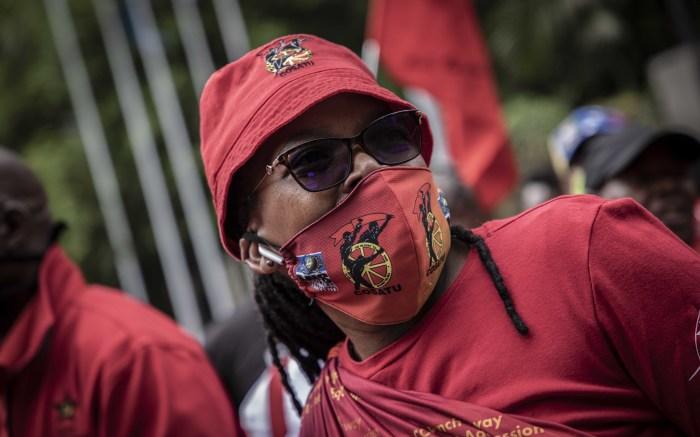 Cosatu President Zingiswa Losi leads the protest in Pretoria. Picture: Abigail Javier/EWN