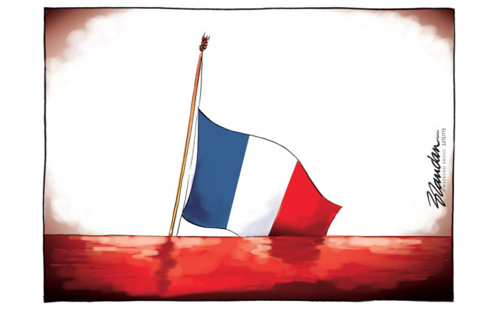RIP Paris.  Cartoon by Brendan Reynolds for The Weekend Argus