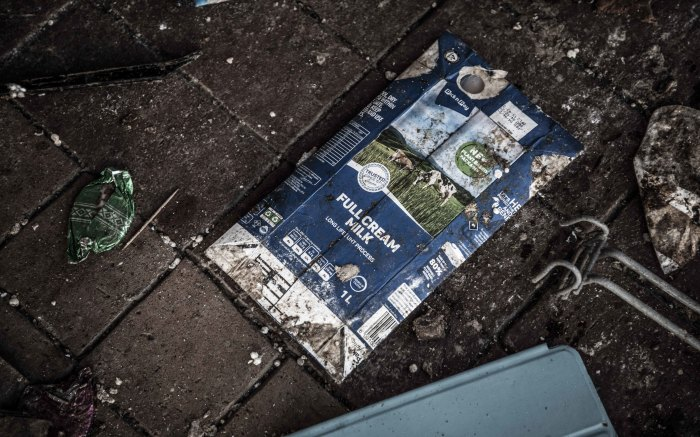 An emptied carton of milk. Picture: Abigail Javier/Eyewitness News