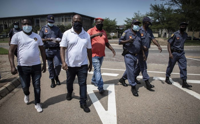 Protest leaders head to the RTMC offices to negotiate that their group be allowed to move closer. Picture: Abigail Javier/EWN