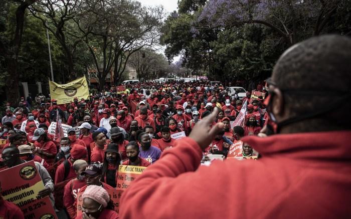 Protest leaders speak to the marchers in Pretoria. Picture: Abigail Javier/EWN