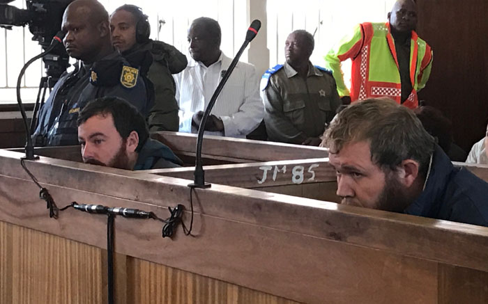 Pieter Doorewaard and Philip Schutte in the dock at the Coligny magistrates court. Picture: Kgothatso Mogale/EWN