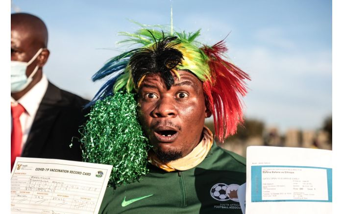 Excited fan outside the FNB Stadium for Bafana Bafana vs Ethiopia in a 2022 FIFA World Cup qualification match. Picture: Abigail Javier/EWN