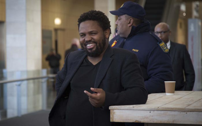 BLF Leader Andile Mngxitama outside The Gathering: Media Edition.