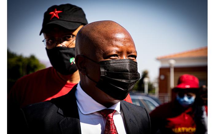 EFF leader Julius Malema arrives at court.