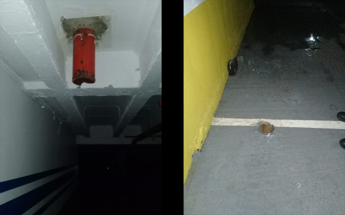 Pictures of the cut pipes in the basement of the Bank. Of Lisbon building. Pictures: Wynand Engelbrecht/Supplied.