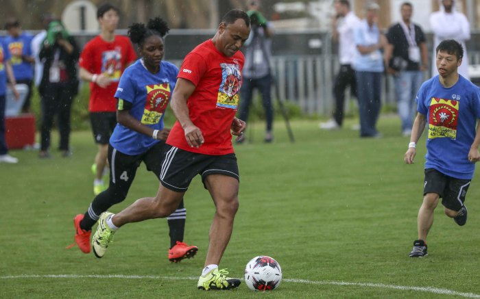 Cafu, a famous Brasilian footballer, plays football with athletes from the Special Olympics in Abu Dhabi. Picture: Thomas Holder/EWN