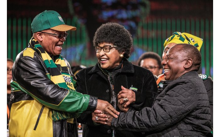 Winnie Mandela with Jacob Zuma and Cyril Ramaphosa at the African National Congress policy conference on June 30, 2017.