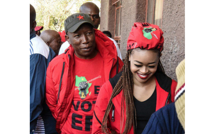 EFF leader Julius Malema with his wife Mantwa Matlala Malema casting their vote in Seshego. Picture: Twitter/@EFFSouthAfrica
