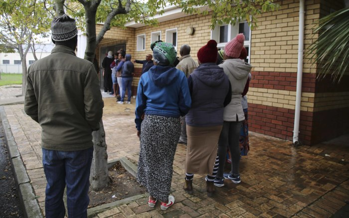 Lwandle residents braved the rain and cold to come and cast their votes. Picture: Cindy Archillies/EWN.
