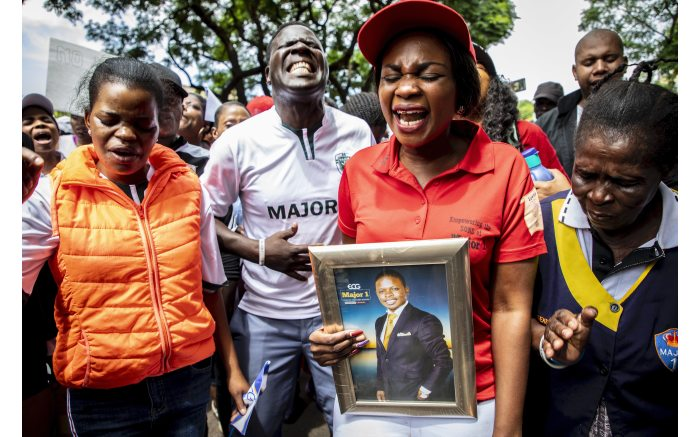 Supporters of Prophet Shepherd Bushiri protest outside the Specialised Commercial Crimes Court in Pretoria. Picture: Abigail Javier/EWN.