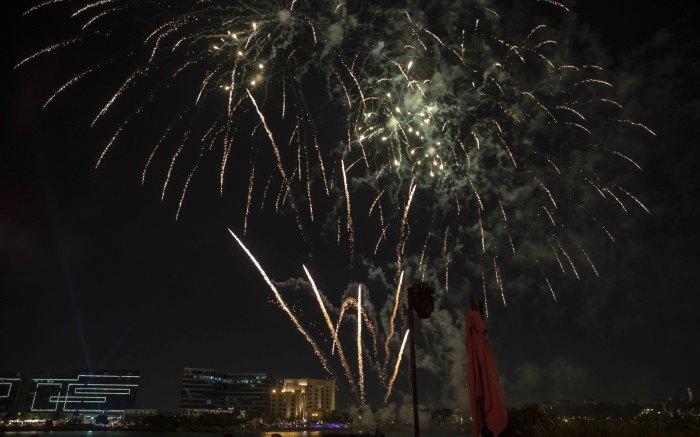Celebratory fireworks along the Khor al Maqta waterway. Picture: Thomas Holder/EWN