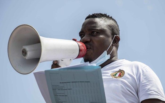 Driving School Association of South Africa National Chair Abel Mositsa reads the memorandum. Picture: Abigail Javier/EWN