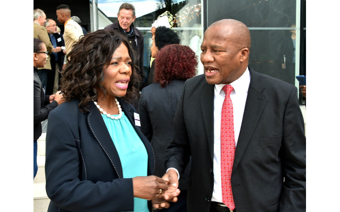 Minister Jackson Mthembu with Thuli Madonsela at the #SocialJusticeSummit, 29 August 2019. Picture: Government ZA