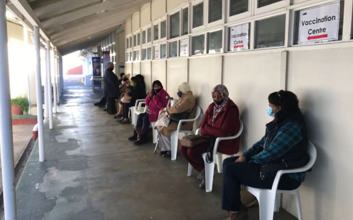 Vaccine recipients queue at Karl Bremer Hospital's vaccination site in Cape Town. Picture: Kevin Brandt