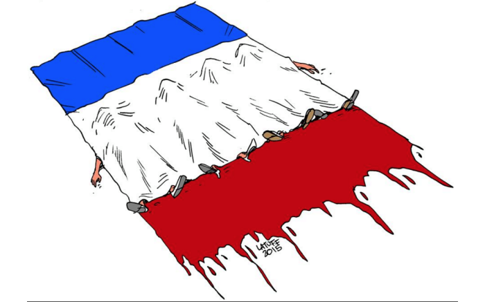 Paris mourns its dead.  Cartoon by Carlos Latuff