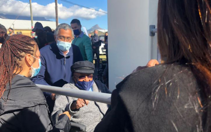 Archbishop Emeritus Desmond Tutu (89) arrives to get vaccinated at the Brooklyn Chest Hospital in the Western Cape. Picture: Graig-Lee Smith