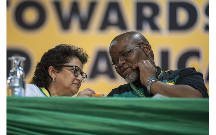 Gwede Mantashe and Jessie Duarte chat at the ANC's national conference on 17 December 2017. Picture: Ihsaan Haffejee/EWN.