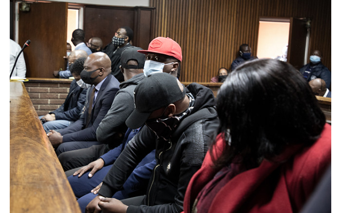 The seven suspects in the Bloemfontein Magistrates Court on 2 October 2020.