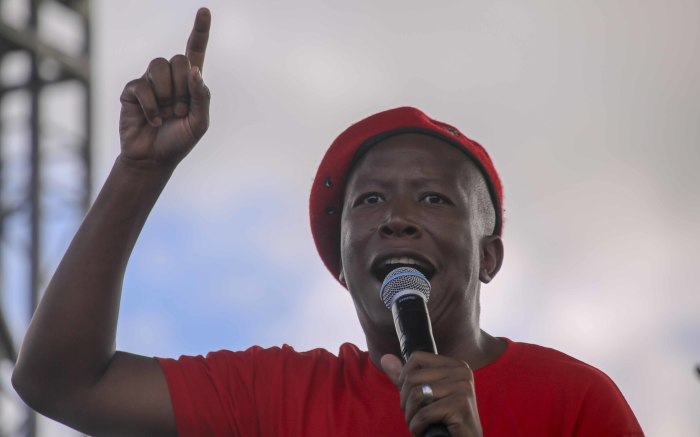 EFF Leader, Julius Malema addresses supporters at the Philippi Stadium. Picture: Cindy Archillies/EWN