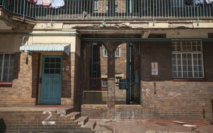 Damaged walls and floors of the old Johannesburg central fire station building. Picture: Abigail Javier/EWN