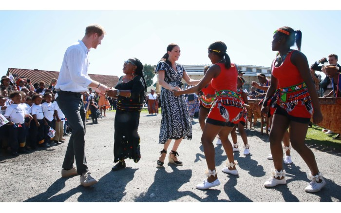 Prince Harry and Meghan Markle visit the Trinity Society Church in Nyanga, Cape Town. Picture: Bertram Malgas/EWN