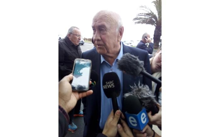 Former president FW de Klerk after casting his vote in Bantry Bay on 8 May 2019.