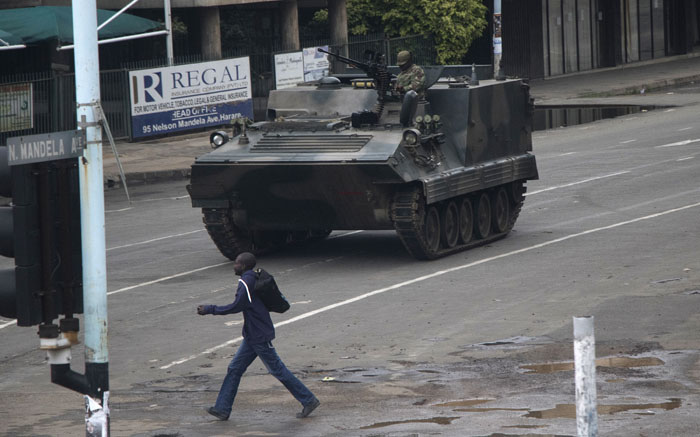 An armoured personnel carrier stationed at an intersection in Harare in Zimbabwe on 15 November 2017. Picture: AFP.