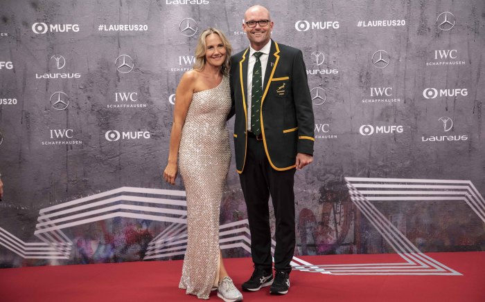 Springbok coach Jacques Nienaber with partner on the red carpet of the Laureus World Sports Awards. Picture: Abigail Javier/EWN