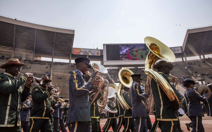 The military marching band plays before the funeral ceremony of the late former President Robert Mugabe.