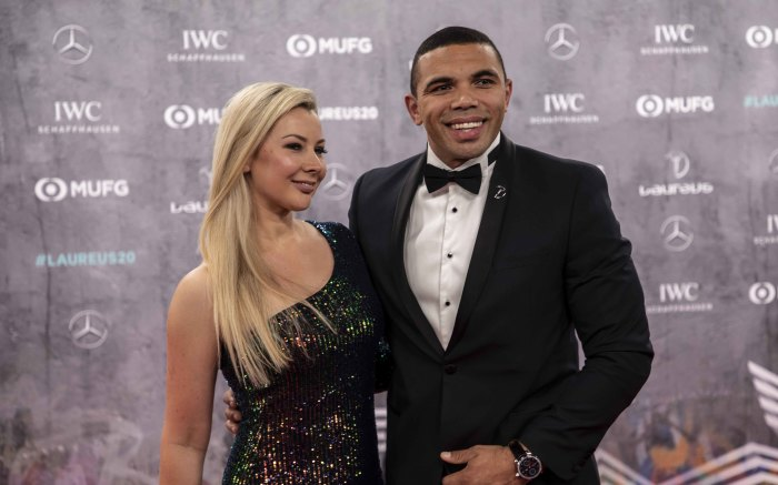 Bryan Habana with his wife on the red carpet of the Laureus World Sports Awards 2020 in Berlin, Germany. Picture: Abigail Javier/EWN