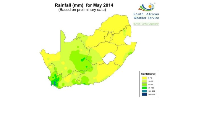 2014 was the last year which had average rainfall for Cape Town.