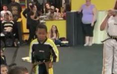 [WATCH] Class cheering karate kid until he breaks board will melt your heart