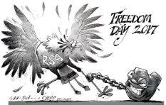 [Cartoon] Freedom shackled