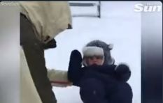 [VIDEO] Dad accidentally dunking baby in 20-inch snow goes viral