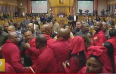 Pravin Gordhan physically threatened by EFF in Parliament