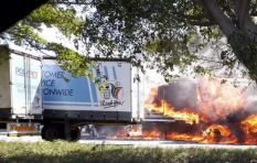 IN PICS: Truck trailers up in flames after explosion near Diep River factory