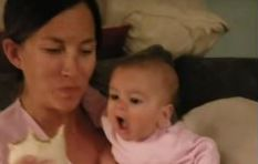 [WATCH] Baby hilariously tries to eat mom's burritos