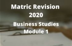 Gauteng Matric Revision 2020: Business Studies Module 1