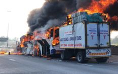[VIDEO] Bus catches fire on N1 north near William Nicol Drive
