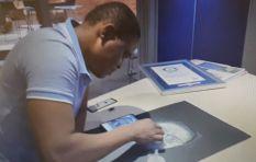 [WATCH] Guinness World Record holder creates salt portrait of 702 host Refiloe