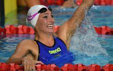 Penny Heyns congratulates Tatjana Schoenmaker for breaking her swimming record