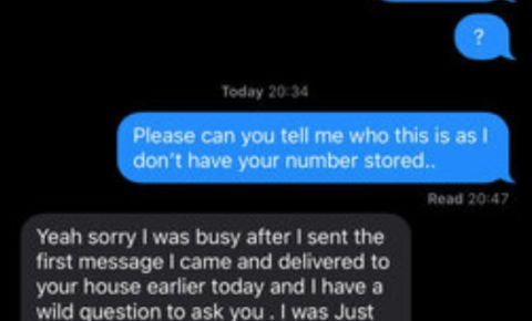 2020-08-13Woman receives text message from delivery guy