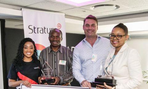 Thando Makhunga, CEO Stratum Cares Marco Fonto, Isaac Boshomane
