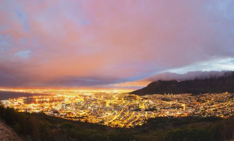 Cape Town City CBD by night lights