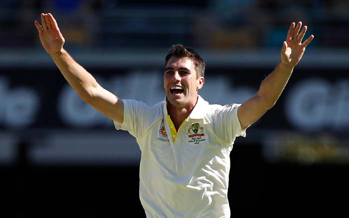 Australia Pat Cummins celebrates against Sri Lanka during the first day-night Test in Brisbane. Picture: www.cricket.com.au.