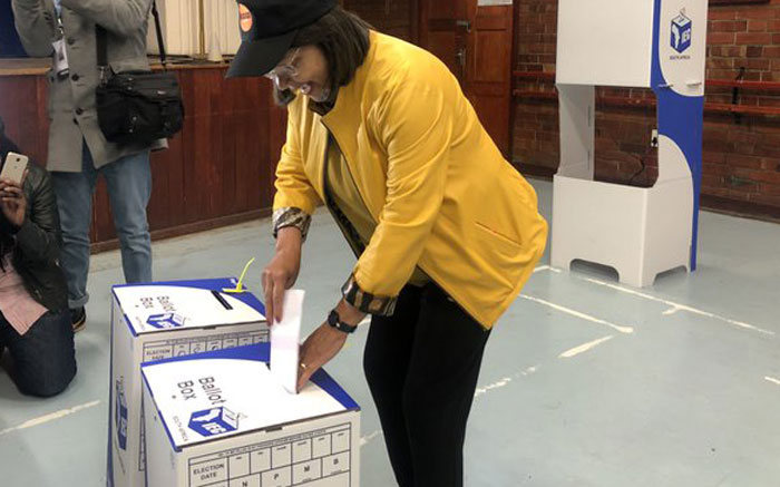Good party leader Patricia de Lille places her ballot paper in the box at a voting station in Pinelands on 8 May 2019. Picture: Bertram Malgas/EWN