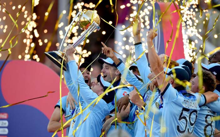 The England cricket team lift the Cricket World Cup trophy on 14 July 2019. Picture: Twitter/@cricketworldcup